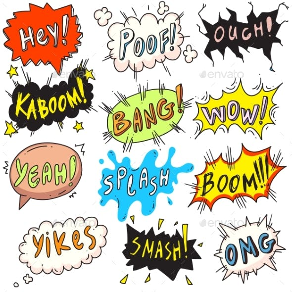 Popart Comic Bubble Set Isolated on White Backdrop