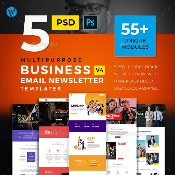 5 Business Email Newsletter PSD Templates v4