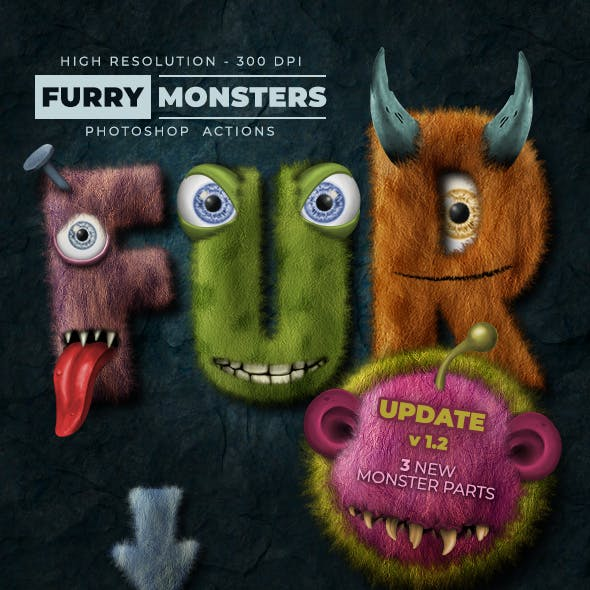 Furry Monster Actions - 300 DPI