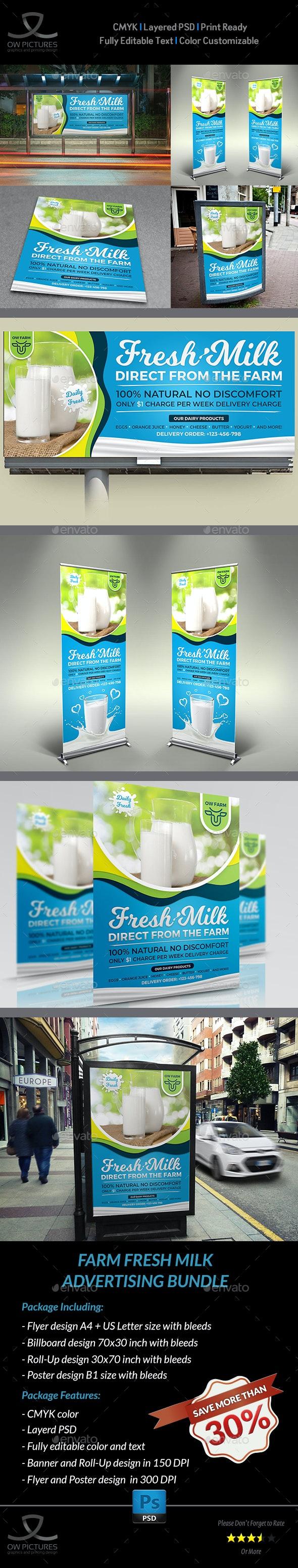 Farm Fresh Milk Advertising Bundle - Signage Print Templates