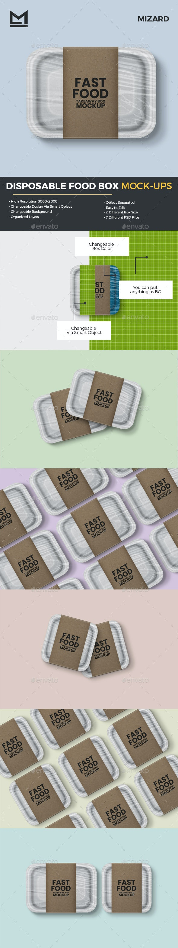 Disposable Food Box Mockup - Food and Drink Packaging