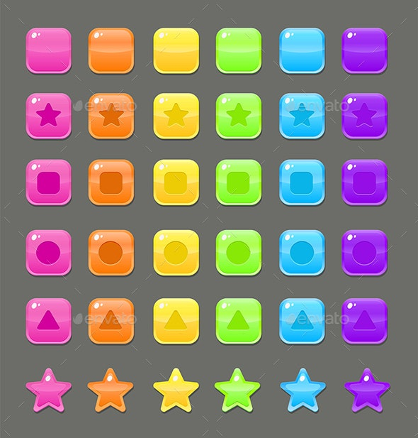 Jelly Candy Colorful Buttons Set For Match 3 Games - Miscellaneous Game Assets