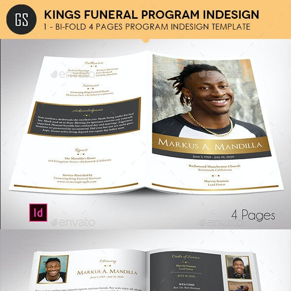 Kings Gold Funeral Program Indesign Template