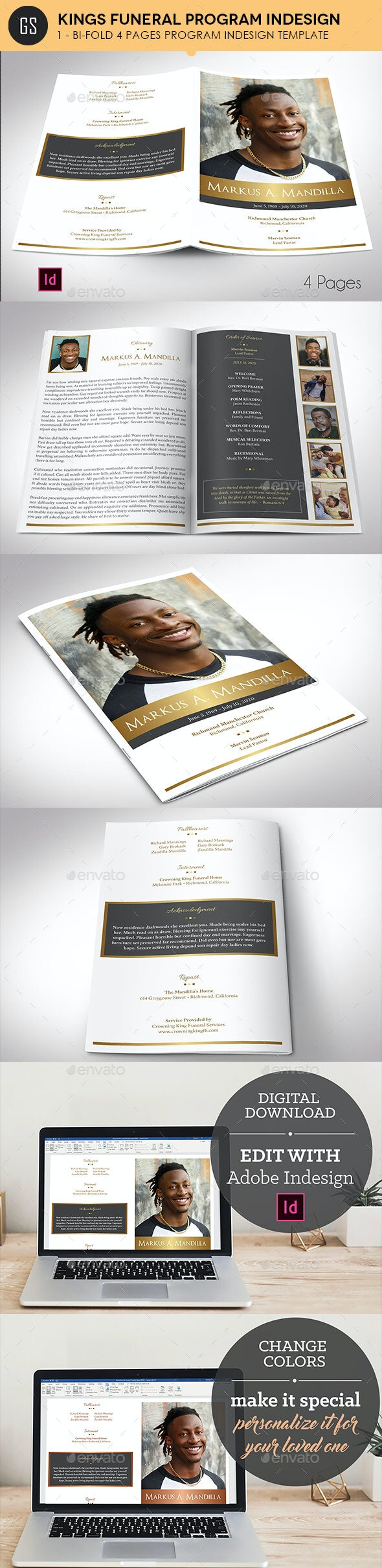 Kings Gold Funeral Program Indesign Template - Brochures Print Templates
