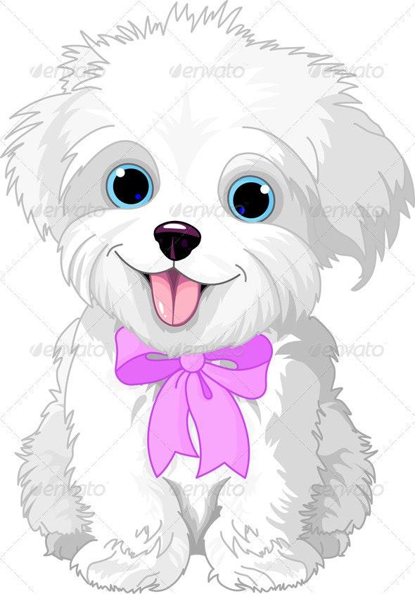 White lap-dog - Characters Vectors