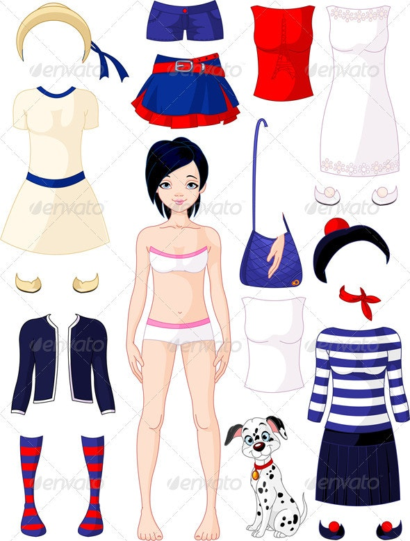 Paper doll with clothing  - People Characters