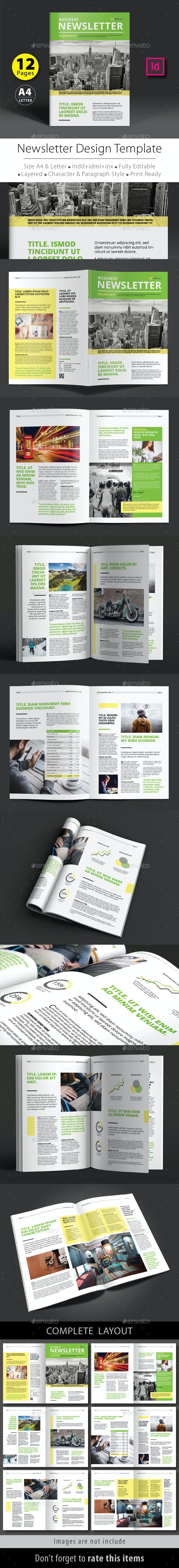 12 Pages Newsletter Design Template V.2 - Newsletters Print Templates