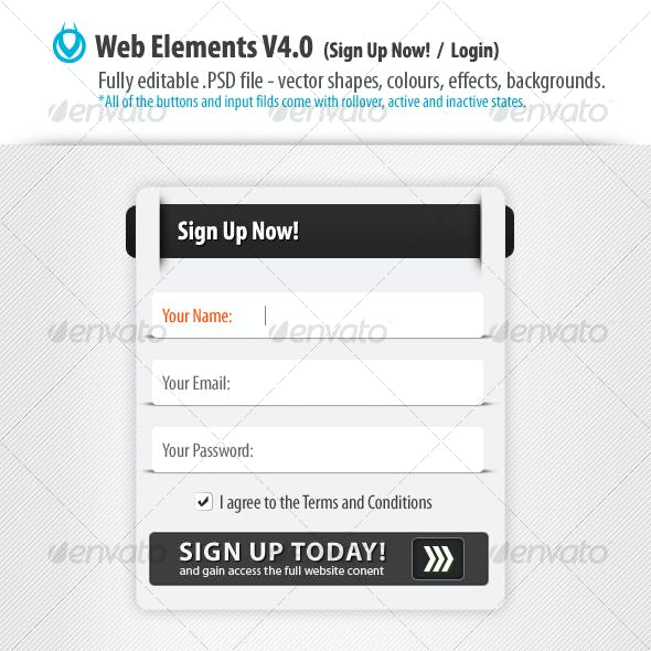 Web Form Elements 4.0 - Sign Up / Login by VO
