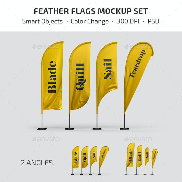 Feather Flags Mockup Set