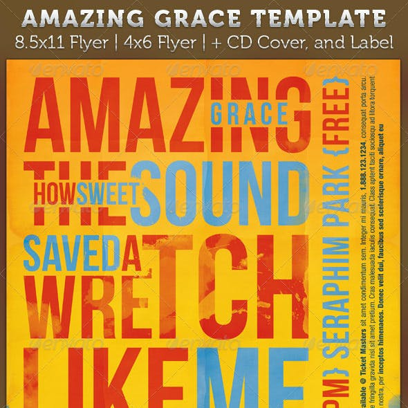 Amazing Grace Flyer and CD Artwork Template