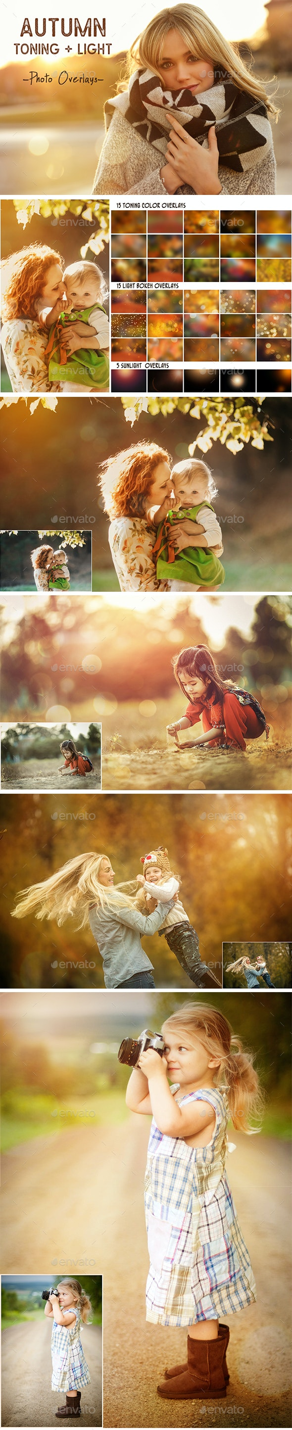 Autumn toning color and light photo overlays - Artistic Photo Templates