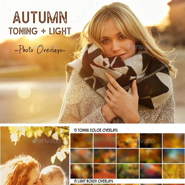 Autumn toning color and light photo overlays