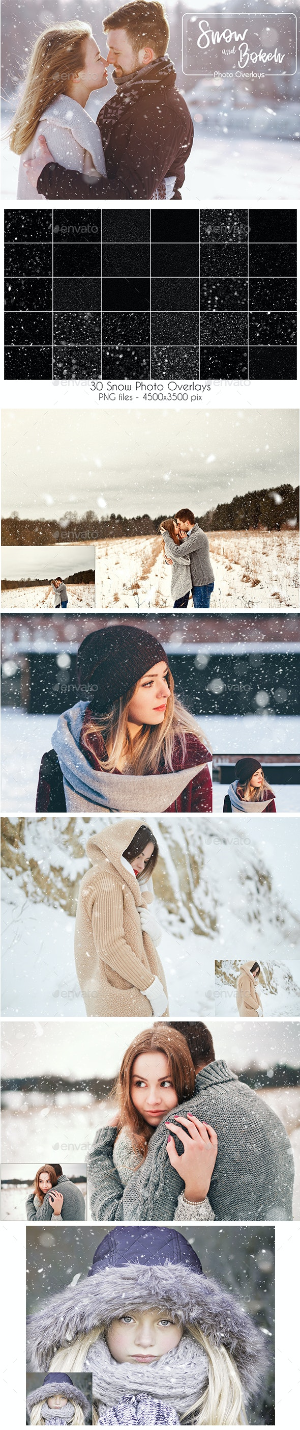 Snow and Bokeh Photo Overlays - Artistic Photo Templates