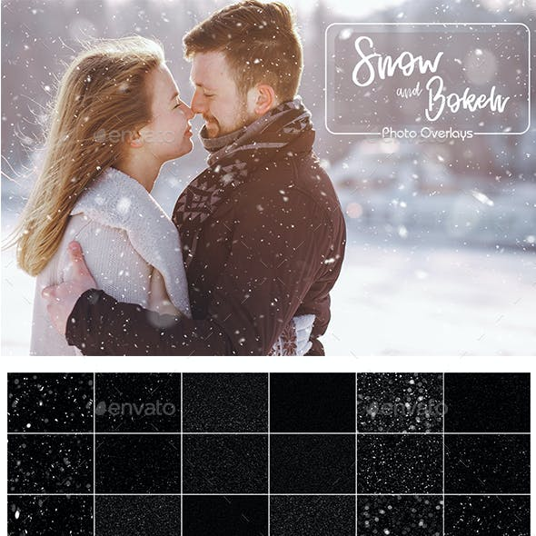 Snow and Bokeh Photo Overlays