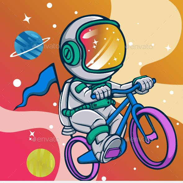 Astronaut Riding Bikes in Space