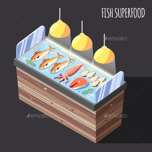 Fish Superfood Counter Isometric Background