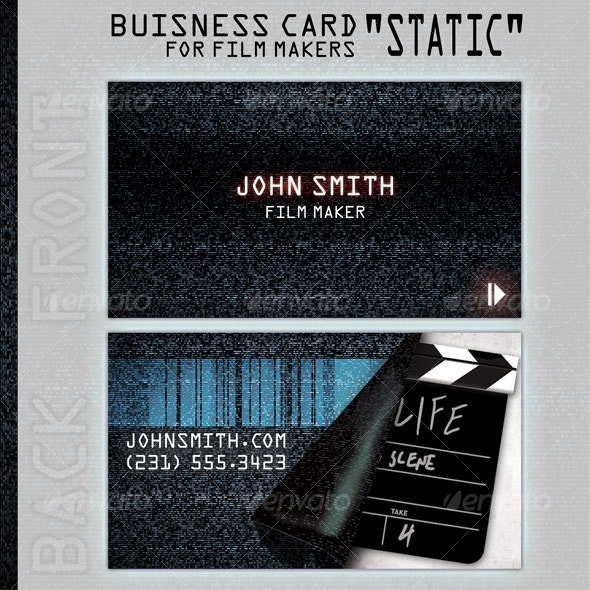 """Business Card """"Static"""" for people in film business - Grunge Business Cards"""