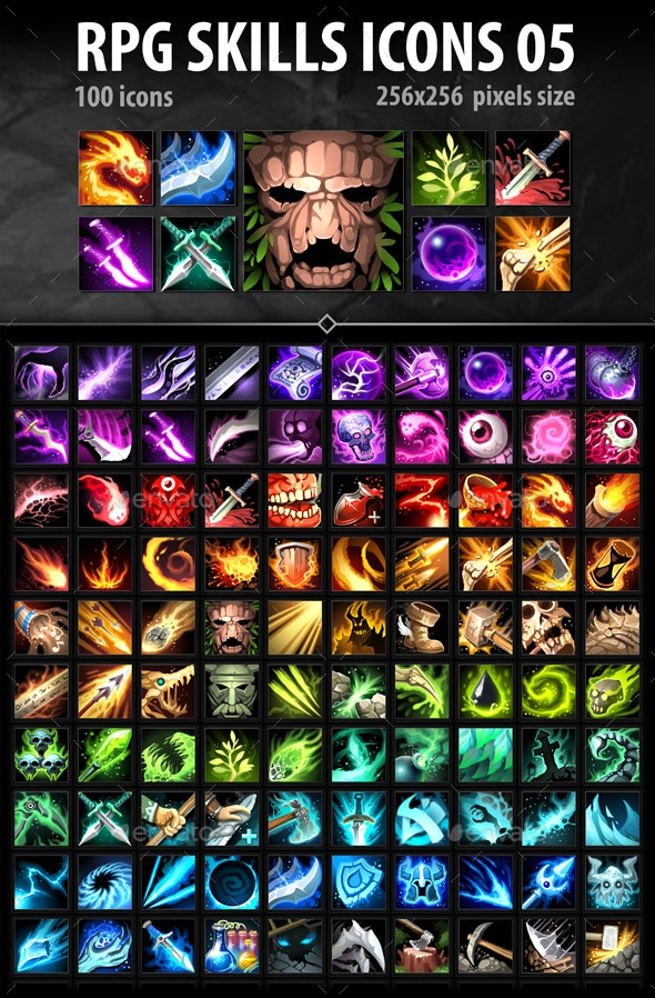 RPG Skills Icons 05 - Miscellaneous Game Assets