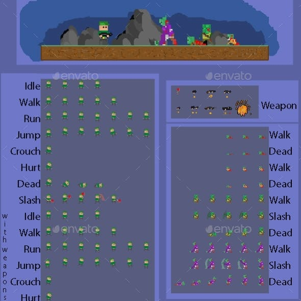 Characters Spritesheet 5 (Character 1 Zombie 4)