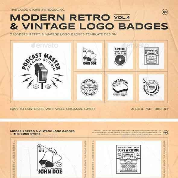 Retro Logo Badges Set Vol.4