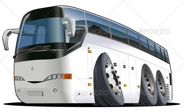Vector Cartoon Tourist Bus - Travel Conceptual