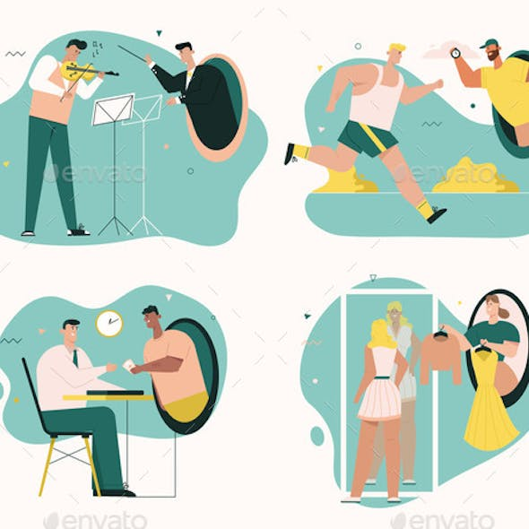 Vector Character Illustration of Online Services