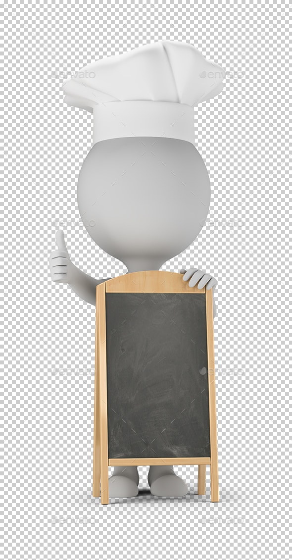 3D Small People - Cook and Menu Board - Characters 3D Renders