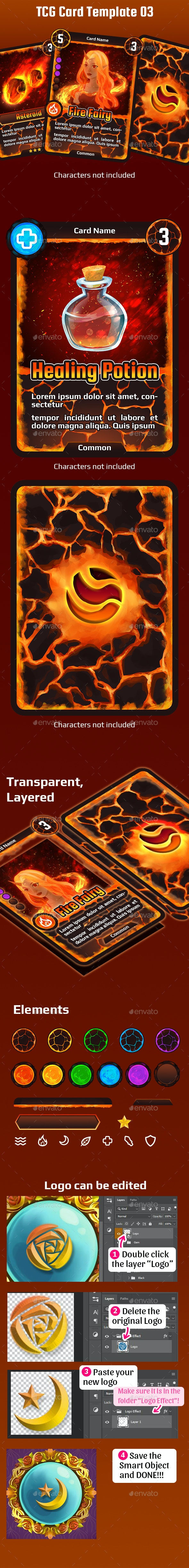 TCG Card Template 03 - Miscellaneous Game Assets
