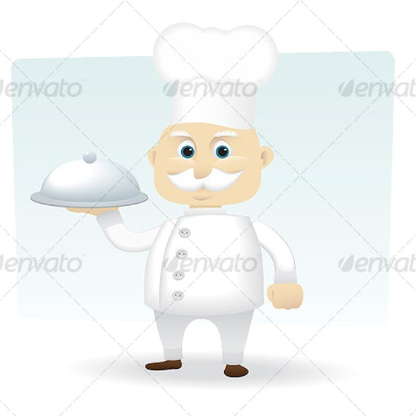 Chef Holding a Silver Serving Tray