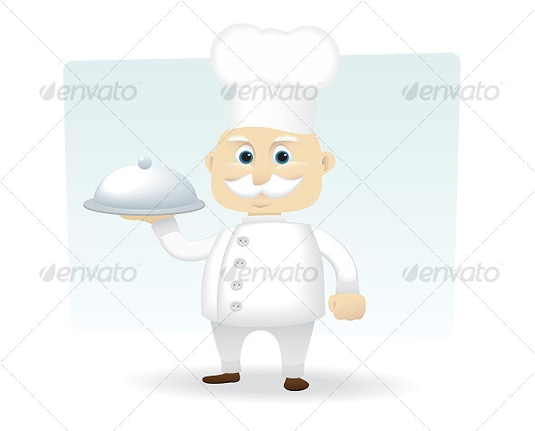 Chef Holding a Silver Serving Tray - People Characters