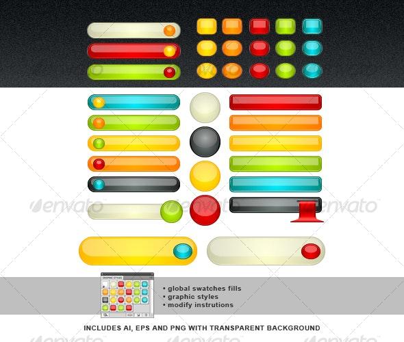 Web Glossy Button Set - Web Elements