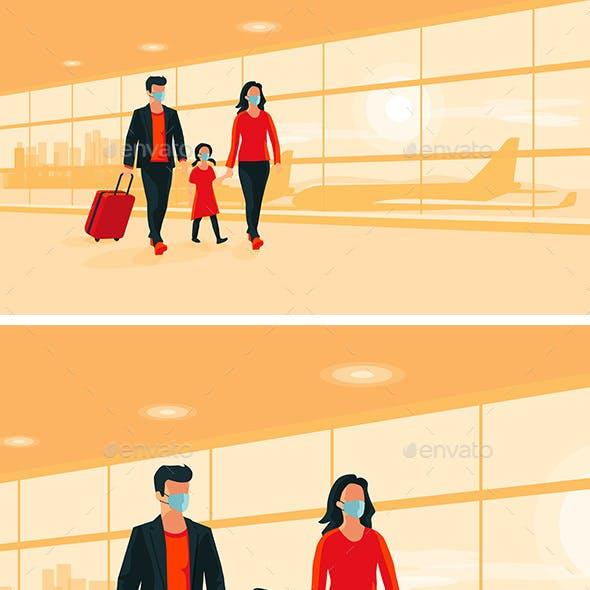 Family Traveler Wearing Face Masks with Luggage Walking at Airport Gate Terminal