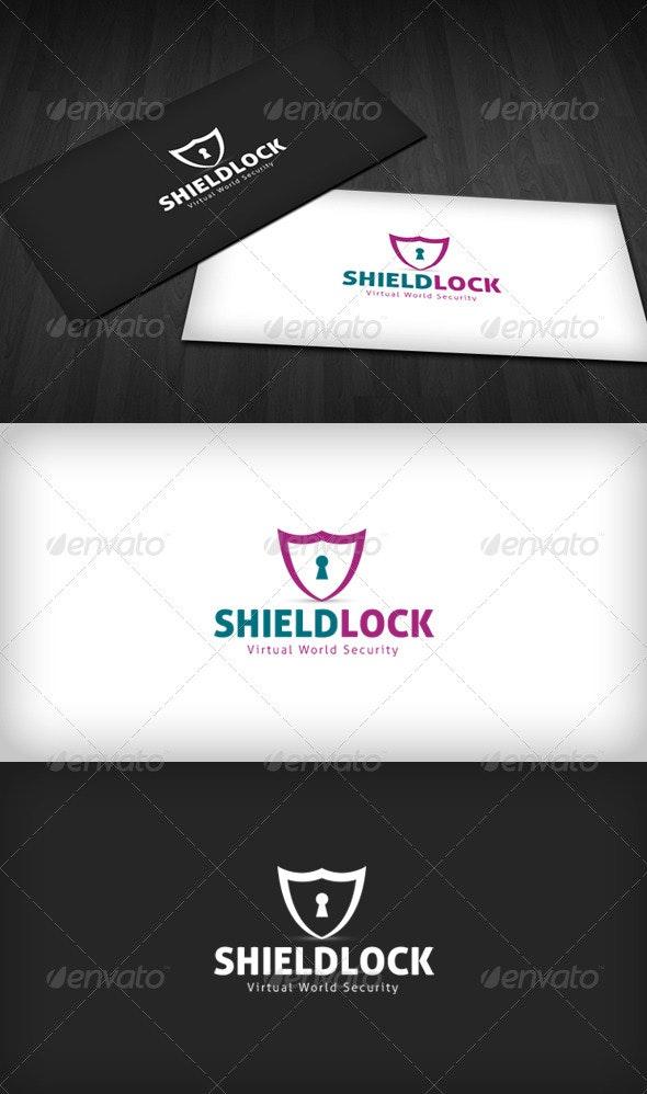 Shield Lock Logo - Vector Abstract