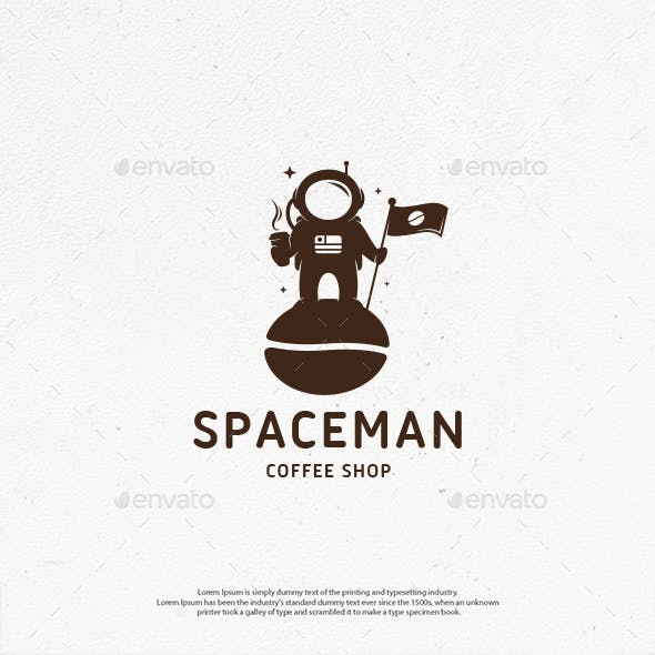 Astronaut Coffee Shop Logo Template