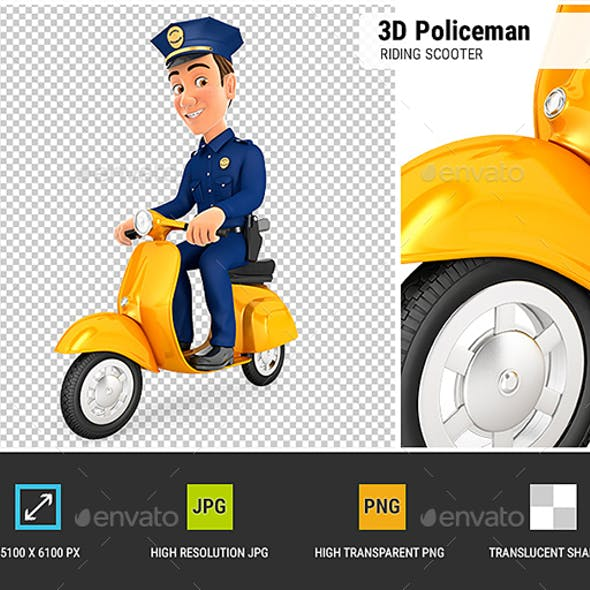 3D Policeman Riding Scooter