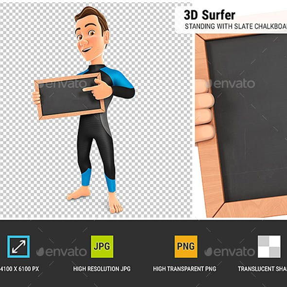3D Surfer Standing with Slate Chalkboard