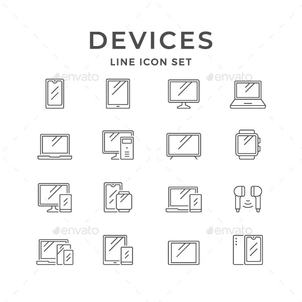 Set Line Icons of Devices and Gadgets