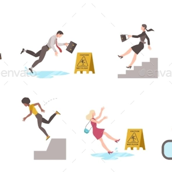 Falling Down People. Tripping on Stairs and Drop