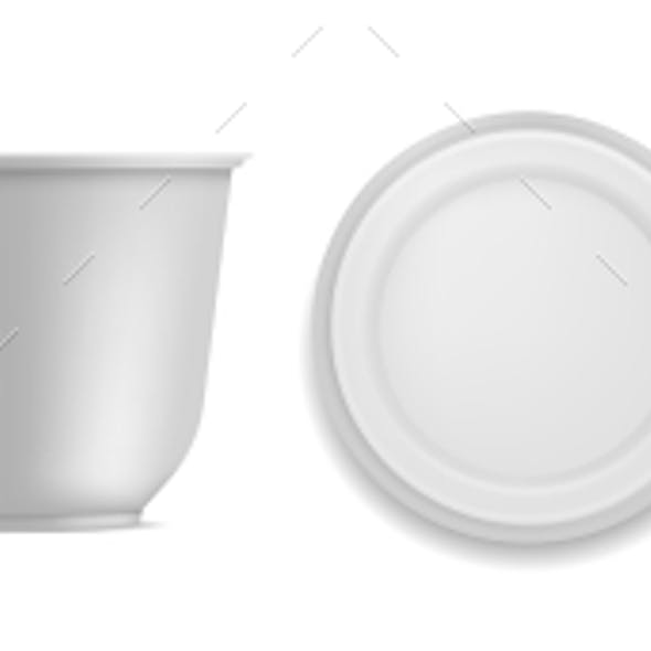 Yoghurt Container. White Blank Plastic Packaging