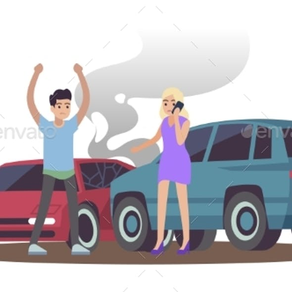 Car Accident. Man and Woman After Cars Collision