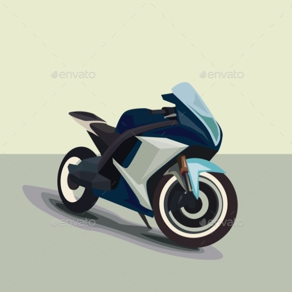 Motorcycle Model Sportbike Eps 10 Vector Isolated - Man-made Objects Objects