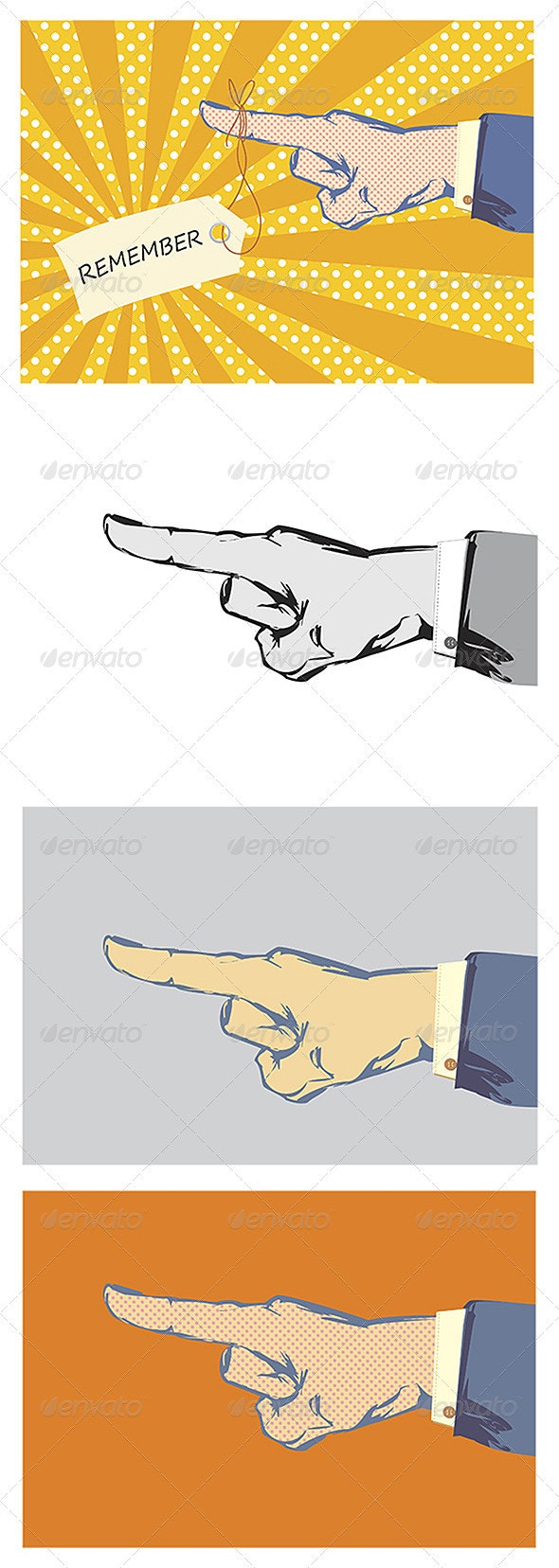 4 Hand and Finger Pointer Vectors - Retro Technology