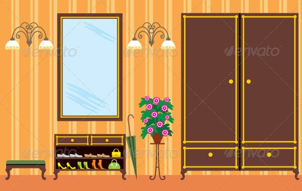 Entrance hall in apartment - Objects Vectors
