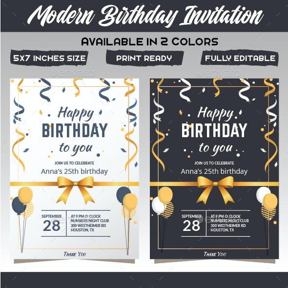 Flat Birthday Invitation Card