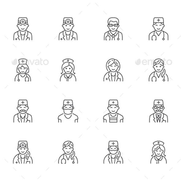 Doctors Line Icons