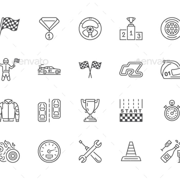 Car Racing Line Icons