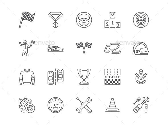 Car Racing Line Icons - Miscellaneous Icons