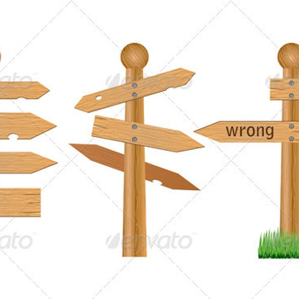 Wooden crossroad signs