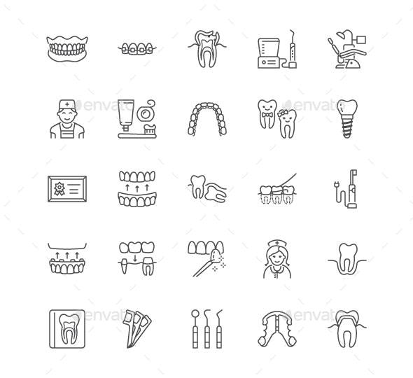 Dental Line Icons - People Characters