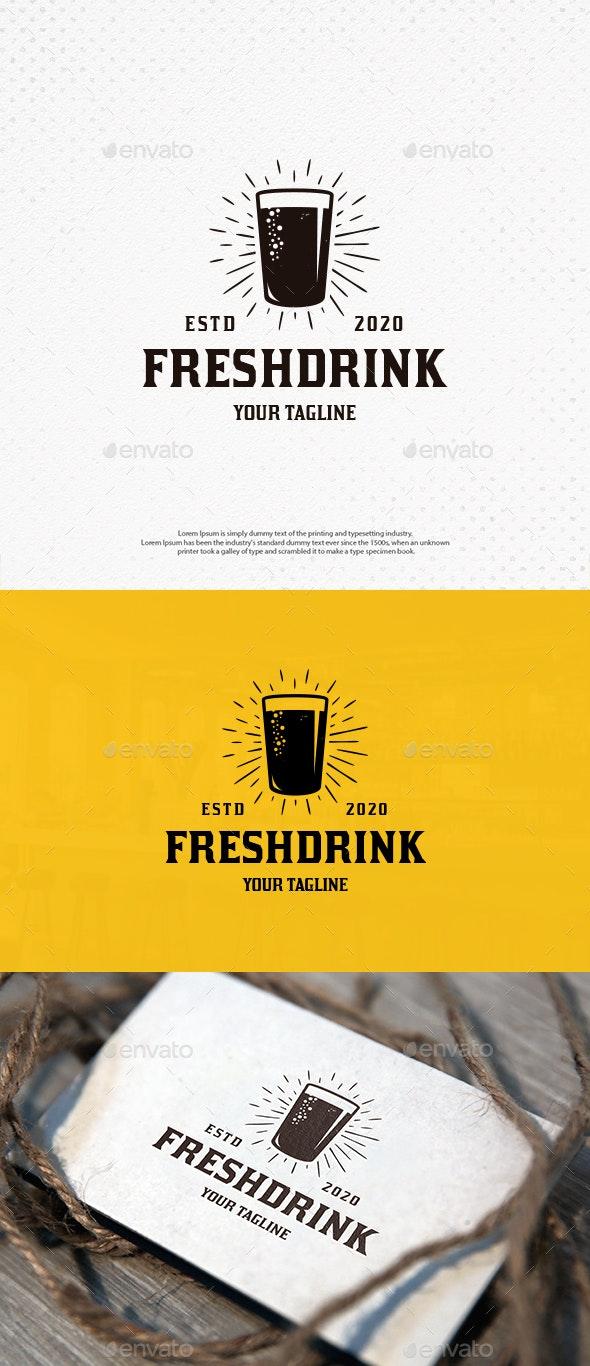 Fresh Drink Glass Logo Template - Food Logo Templates